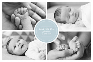 Geburtskarten stempel 5 fotos zartblau