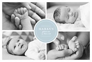 Geburtskarten blau stempel 5 fotos zartblau