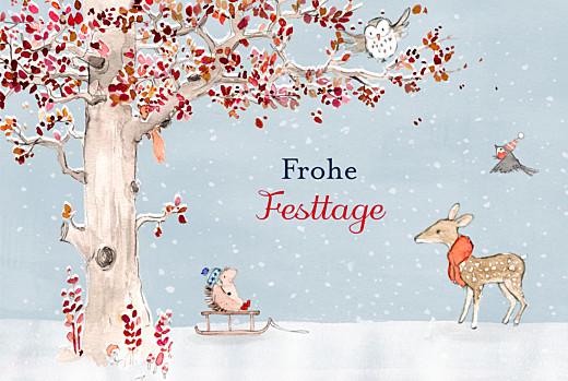 Weihnachtskarten Wintermärchen blau