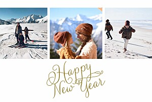 Weihnachtskarten klassisch happy new year weiss & gold