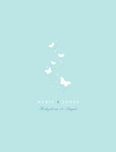 Hochzeitseinladung Schmetterlinge zartblau & weiss