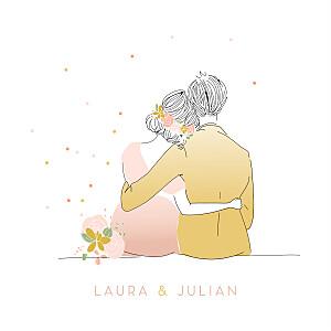 Hochzeitseinladungen rosa das brautpaar rosa