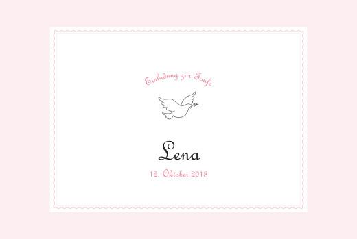 Taufeinladungen Taube rosa