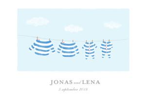 Geburtskarte Wäscheleine marine zwillinge blau