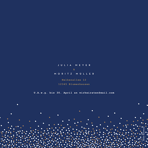 Hochzeitseinladung Confetti blau