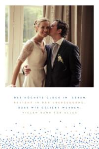 Dankeskarten Hochzeit Confetti blau & weiß