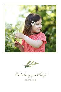 Taufeinladung Olivenzweig weiß