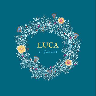 Geburtskarte Blumenkranz blau finition