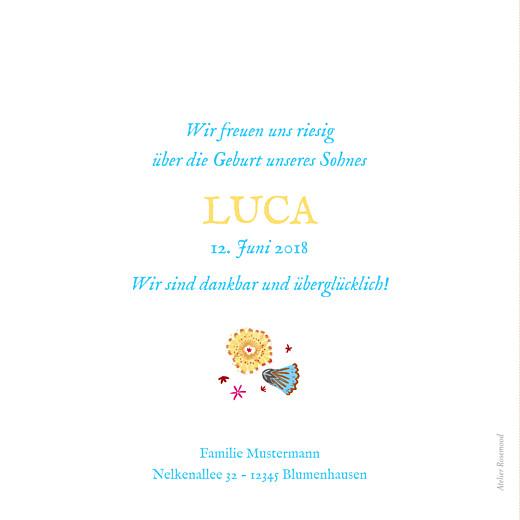 Geburtskarte Blumenkranz blau
