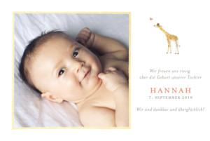 Geburtskarte Giraffe foto gelb