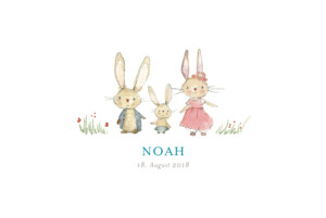 Geburtskarte Hasenohr 3 kinder junge