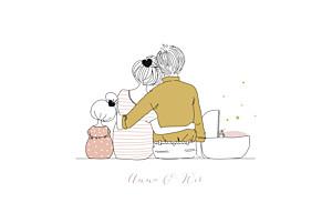 Geburtskarten rosa lovely family 2 kinder  mädchen