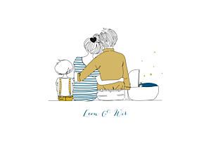 Geburtskarten gelb lovely family 2 kinder junge
