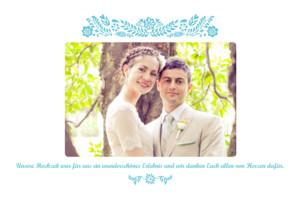 Dankeskarten Hochzeit Papel picado türkis