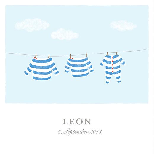 Geburtskarten Wäscheleine marine quadratisch blau