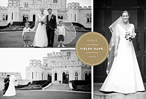 Dankeskarten Hochzeit Medaillon 4 fotos lang kraft