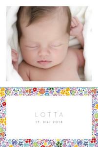 Geburtskarte Blütentraum 4 fotos gelb