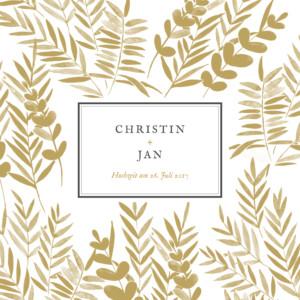 Hochzeitseinladung Blättertraum gold