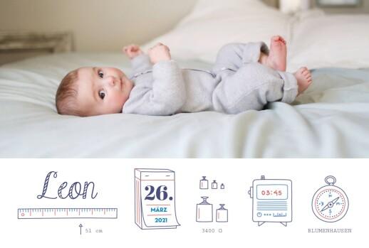 Geburtskarte Kleinkram leiste foto weiß