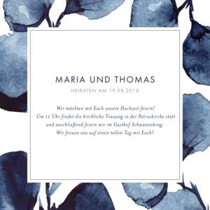 Hochzeitseinladung Blütenblätter blau