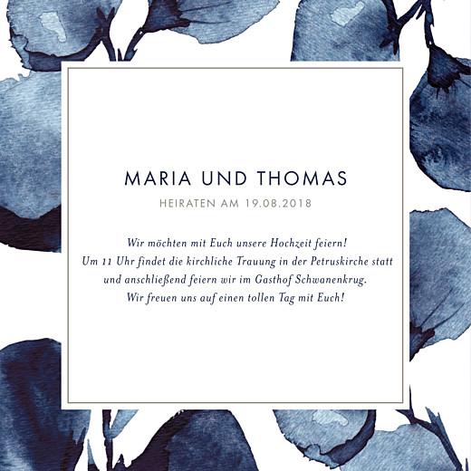 Hochzeitseinladungen Blütenblätter blau