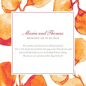 Hochzeitseinladungen orange blütenblätter orange
