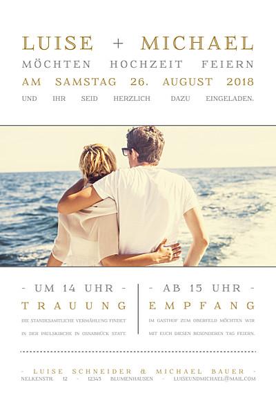 Hochzeitseinladung Das leben ist schön weiß finition
