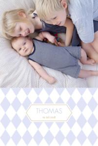 Geburtskarte Rauten 2 fotos blau