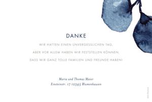 Dankeskarten Hochzeit Blütenblätter blau