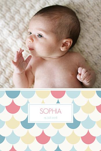 Geburtskarten Bunte bögen 2 fotos mädchen