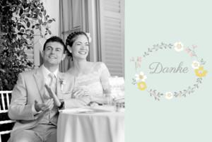 Dankeskarten Hochzeit Frühlingsblumen grün