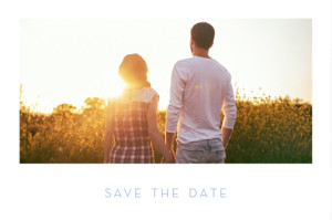 Save-the-Date Karte Chic 1 foto lang weiß