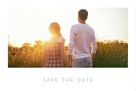 Save-the-Date Karten Chic 1 foto lang weiß