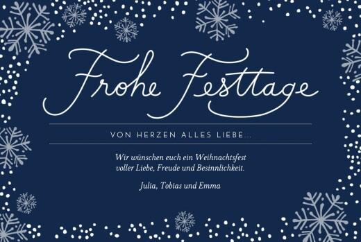 Weihnachtskarten Schneegeflüster blau