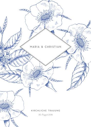 Kirchenheft Hochzeit Floralie blau