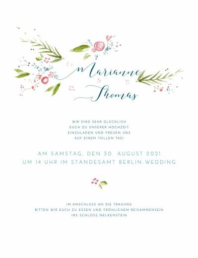 Hochzeitseinladung Frühlingshauch weiß
