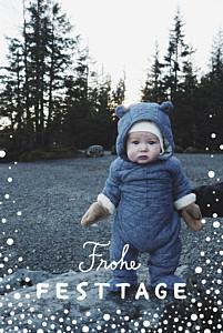Weihnachtskarten voll im trend schneepünktchen 5 fotos blau