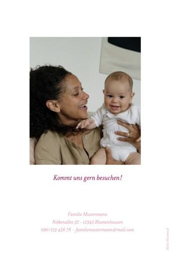 Geburtskarte Blumenkranz hoch rosa