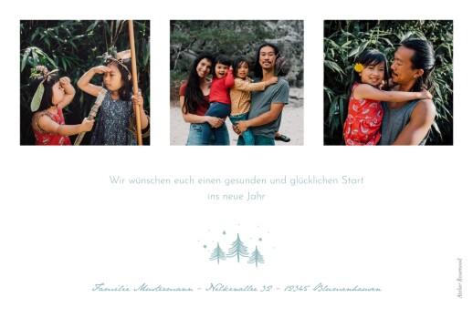 Weihnachtskarte Schneekugel 3 fotos blau