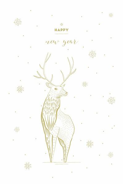 Weihnachtskarten Hirsch weiß finition