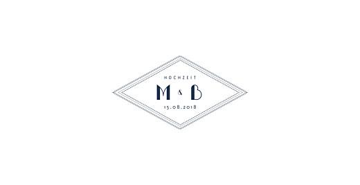 Hochzeitseinladungen Monogramm blau