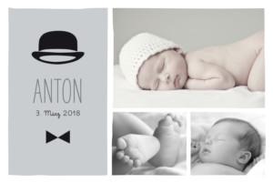 Geburtskarte Gentleman grau