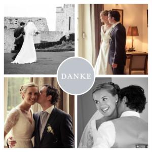 Dankeskarten Hochzeit Klassisch 4 fotos grau