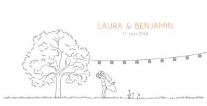 Hochzeitseinladung Feldhochzeit panorama weiß