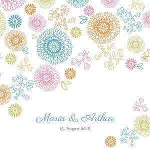 Hochzeitseinladungen blumentanz farbig