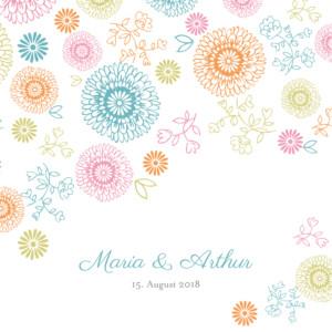 Hochzeitseinladung Blumentanz farbig