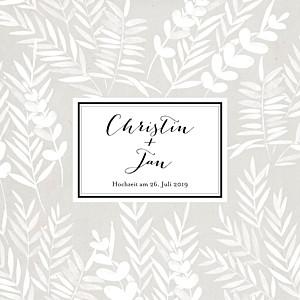 Hochzeitseinladungen grau blättertraum (klappkarte) grau