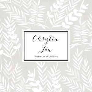 Hochzeitseinladung Blättertraum (klappkarte) grau