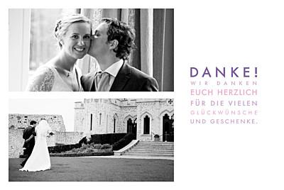 Dankeskarten Hochzeit Modern weiß finition