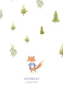 Geburtskarte Fuchs aquarell beidseitig blau